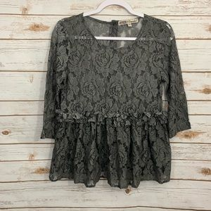 Gypsies & Moondust Charcoal Gray Lace Ruffle Top